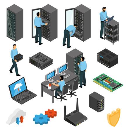Ilustración de Datacenter equipment isometric set with engineers collecting the server racks isolated vector illustration - Imagen libre de derechos