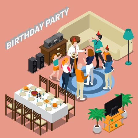 Illustration pour Birthday party isometric composition with feast table, congratulations of people, home interior on pink background vector illustration - image libre de droit