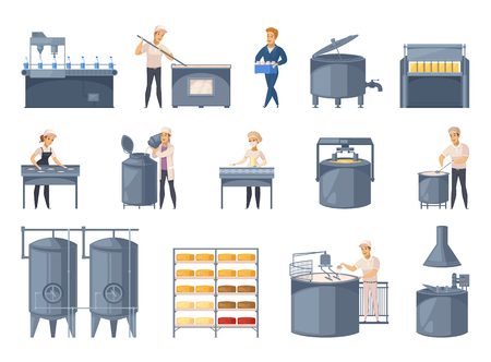 Ilustración de Dairy production set of cartoon icons with milk processing, cheese making, workers of factory isolated vector illustration - Imagen libre de derechos