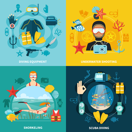 Illustration pour Diving design concept with equipment. - image libre de droit