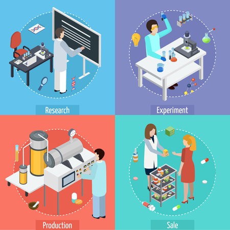 Ilustración de Pharmaceutical production concept 4 isometric icons square with scientific research tests manufacturing and sale isolated vector illustration - Imagen libre de derechos