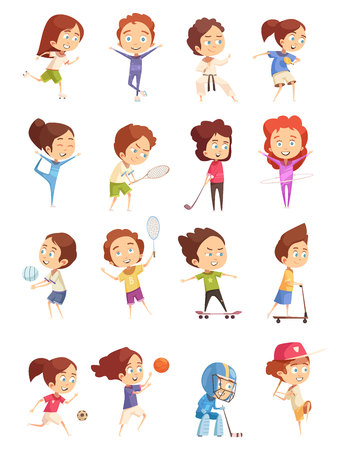 Illustration for Kids sport, decorative icons set with colored cartoon figurines of cute children who are engaged in various sports, flat isolated vector illustration - Royalty Free Image