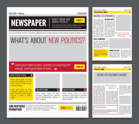 Illustration pour Daily newspaper colored template for website design with three page layout headlines quotes and text articles, flat vector illustration - image libre de droit