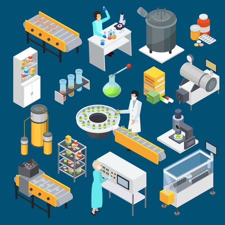 Ilustración de Modern pharmaceutical industry drug production isometric icons collection with scientific research and manufacturing facilities isolated vector illustration - Imagen libre de derechos