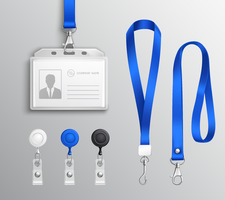 Ilustración de Employees id card and badges holders with blue lanyards and strap clips realistic templates set illustration. - Imagen libre de derechos