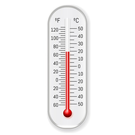 Illustration for Classic outdoor and indoor celsius fahrenheit alcohol ethanol red dye thermometer design, illustration. - Royalty Free Image
