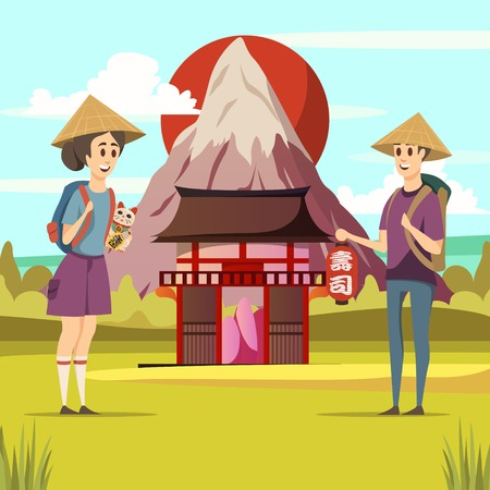 Japan travel orthogonal composition of rising sun fuji mountain traditional architecture and 2 tourists background vector illustration