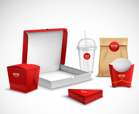 Ilustración de Fast food packaging corporate identity realistic templates samples set red white natural with pizza box vector illustration - Imagen libre de derechos