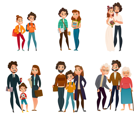 Illustration pour Family development stages set including couple in childhood, during wedding, parenting, old age. - image libre de droit