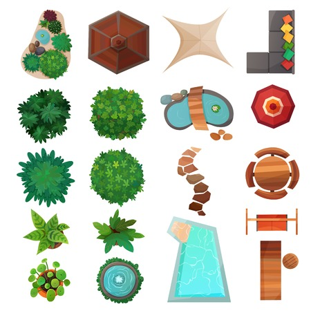 Illustration pour Set of landscape design elements top view with green plants, swimming pool, umbrellas, sidewalk isolated vector illustration - image libre de droit