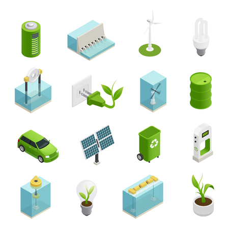 Ilustración de Renewable green energy sources technologies symbols and uses variaties isometric icons collection isolated vector illustration - Imagen libre de derechos