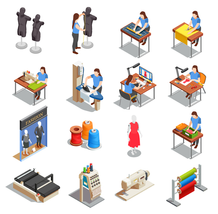 Illustration pour Sewing factory set of isometric icons with people during measurement, tailoring, ironing, creation design isolated vector illustration - image libre de droit