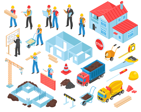 Foto de Building set of isolated construction site elements equipment and transport units with human characters of workers vector illustration - Imagen libre de derechos