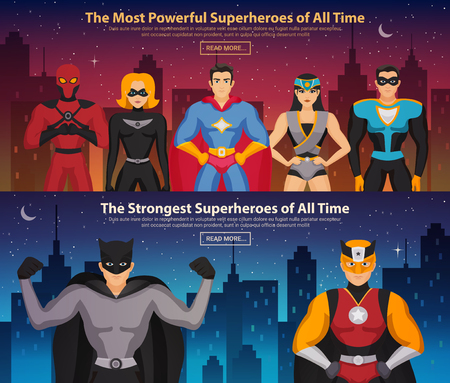 Ilustración de Set of horizontal banners with superheroes men and women on night city background isolated vector illustration - Imagen libre de derechos