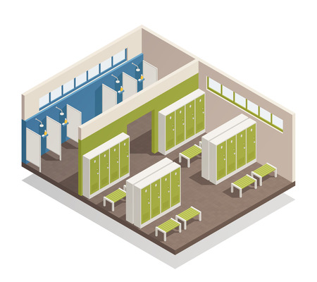 Ilustración de Swimming pool house changing locker room with shower enclosures benches and storage closets interior isometric composition vector illustration - Imagen libre de derechos