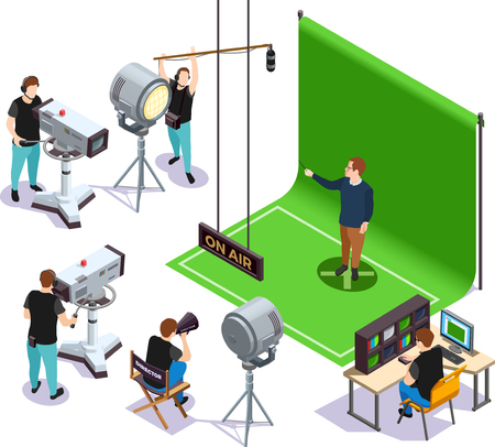 Illustration pour Operators shooting actor on green background and director giving instructions cinematograph isometric composition 3d vector illustration - image libre de droit