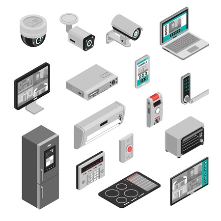 Illustration pour Isometric set of smart home kitchen and house appliances isolated on white background 3d vector illustration - image libre de droit