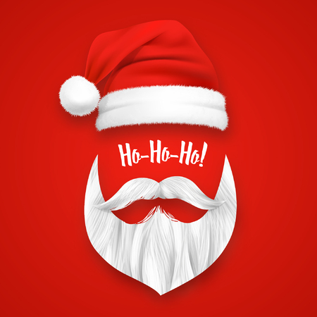1956cb47011 Realistic Santa Claus Christmas mask on red background isolated vector  illustration