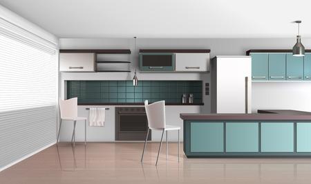 Illustration pour Modern kitchen interior realistic design composition with venetian shutter blinds laminated flooring fridge and cooking facilities vector illustration - image libre de droit