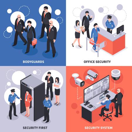 Ilustración de Security system isometric design concept vector illustration. - Imagen libre de derechos