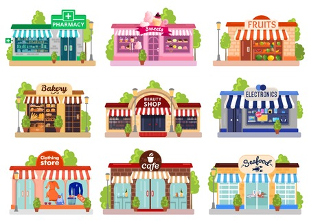 Illustration for Bright colorful facades of six stores and cafes isolated on white background flat vector illustration - Royalty Free Image
