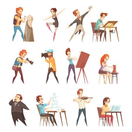 Illustration pour Creative professions people retro cartoon icons set with artist designer sculptor photographer actor dancer isolated vector illustrations - image libre de droit