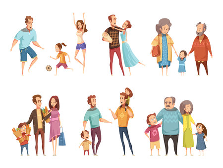 Illustration pour Family cartoon set with parents grandparents and children isolated vector illustration - image libre de droit