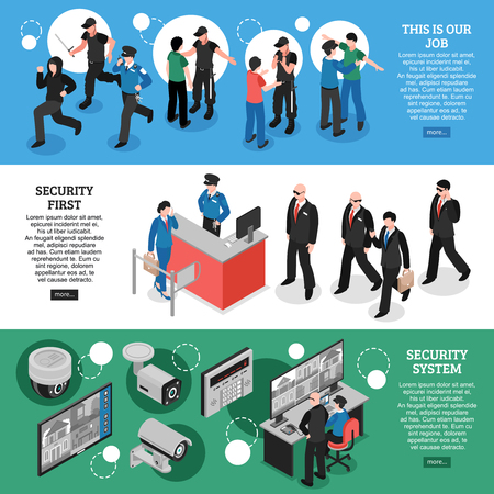 Illustration pour Set of horizontal isometric banners with work of guards, security system, professional equipment isolated vector illustration - image libre de droit