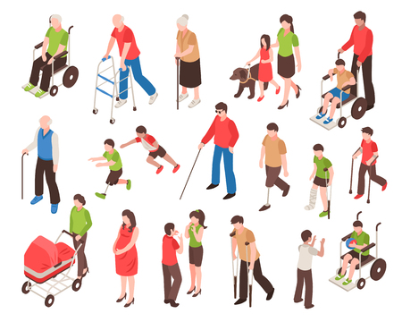 Illustration pour Isometric set with disabled people in wheelchair, with prosthetic limbs, blind and elderly persons isolated vector illustration - image libre de droit
