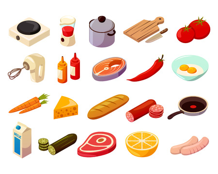 Illustration pour Food cooking set of isometric icons with kitchenware, culinary equipment, meat, fish and vegetables isolated vector illustration - image libre de droit