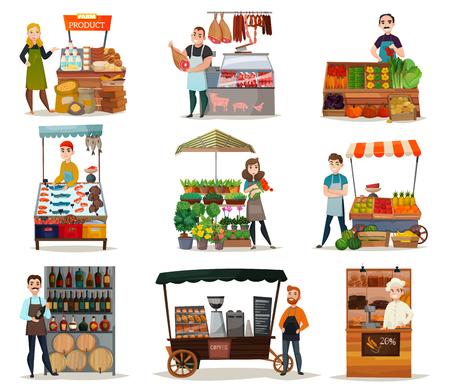 Ilustración de Street food icons set with vegetables meat and wine flat isolated vector illustration - Imagen libre de derechos