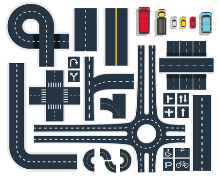 Illustration pour Black white traffic roads intersections elements top view with signboards and colorful vehicles icons set vector illustration - image libre de droit