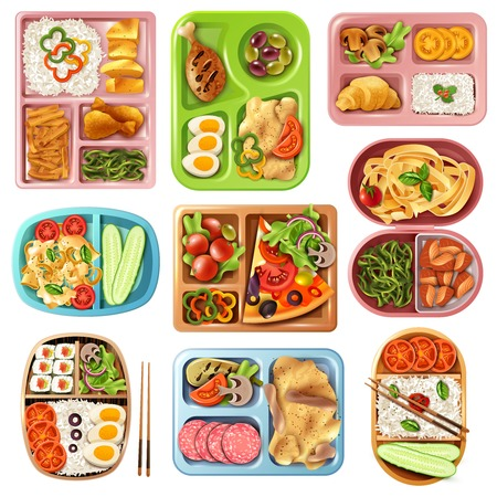 Vektor für Set of boxed lunches in plastic colorful containers with italian, asian, vegetarian food isolated vector illustration - Lizenzfreies Bild