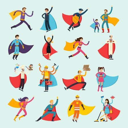 Ilustración de Superheroes orthogonal flat people set including businessman, housewife, chef, doctor and fireman in cloak isolated vector illustration - Imagen libre de derechos