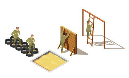 Illustration pour Military personnel primary recruit physical training drills with tire-based and climbing exercises isometric composition vector illustration - image libre de droit