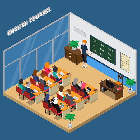 Illustration pour English courses in classroom with teacher near blackboard and students isometric composition on blue background vector illustration - image libre de droit