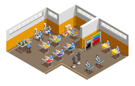Fashion clothes apparel factory interior isometric view vector illustration