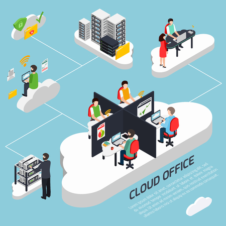 Illustration pour Cloud office isometric background with data protection and security symbols vector illustration - image libre de droit