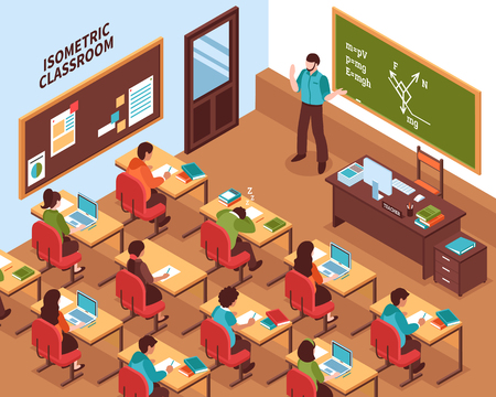 Illustration pour High school lesson isometric poster with teacher at chalkboard and listening students at their desks vector illustration - image libre de droit