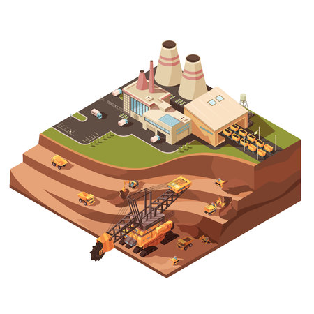 Ilustración de Isometric mining composition with images of factory buildings and opencast mine with extractive equipment for quarrying vector illustration - Imagen libre de derechos