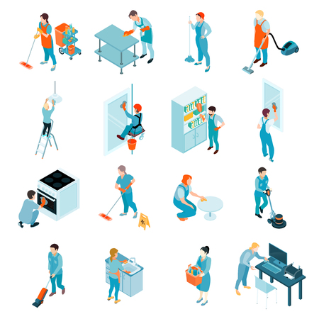 Illustration pour Cleaning service isometric set including workers during washing of windows, floors, wiping of furniture isolated vector illustration - image libre de droit