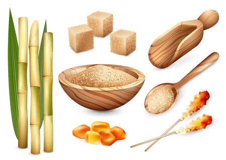 Ilustración de Cane sugar set with isolated images of sand sugar in wooden plate spoon bail and candy sweets vector illustration - Imagen libre de derechos