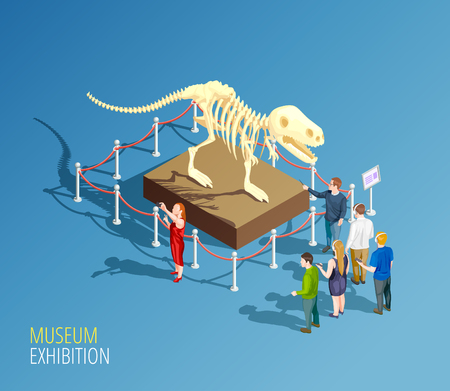 Illustration pour Museum infographic background with isometric composition of dinosaur skeleton and group of visitors to a museum vector illustration - image libre de droit