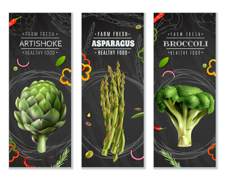 Healthy food vertical banners with farm fresh vegetables broccoli artichoke and asparagus realistic images vector illustration