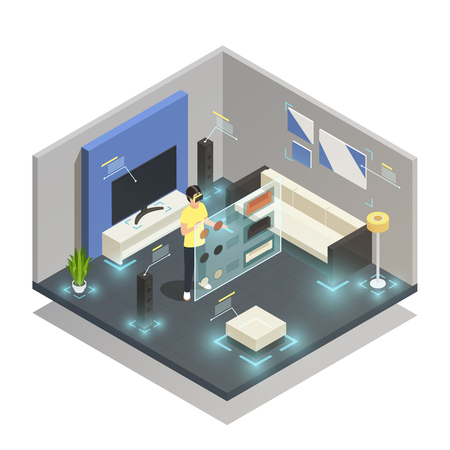 Illustration pour Man wearing augmented reality glasses in modern furnished room isometric composition 3d vector illustration - image libre de droit
