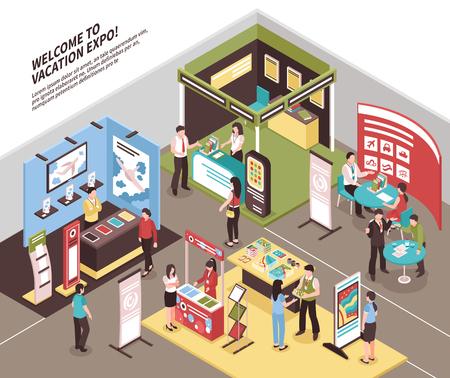 Illustration pour Isometric expo stand exhibition illustration with view of exhibit area with booth for different tour agencies vector illustration - image libre de droit