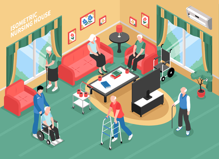 Illustration for Nursing home interior with staff, elderly people in wheelchair, with walkers or cane isometric vector illustration - Royalty Free Image
