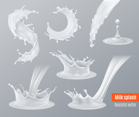 Illustration pour Set of realistic milk splashes of various shape with drops isolated on gray illustration. - image libre de droit