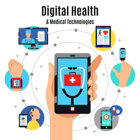 Illustration pour Digital healthcare solutions with electronic devices flat composition poster with mobile touchscreen phone medical apps illustration. - image libre de droit