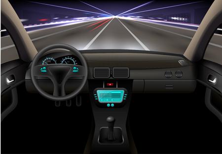 Illustration pour Car on the night street realistic vehicle inside interior vector illustration - image libre de droit